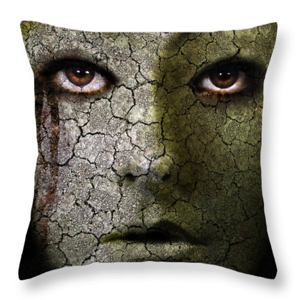 Creepy Cracked Face With Tears Throw Pillow by Jill Battaglia