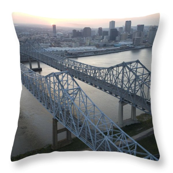 Crescent City Connection Bridge Throw Pillow by Tyrone Turner