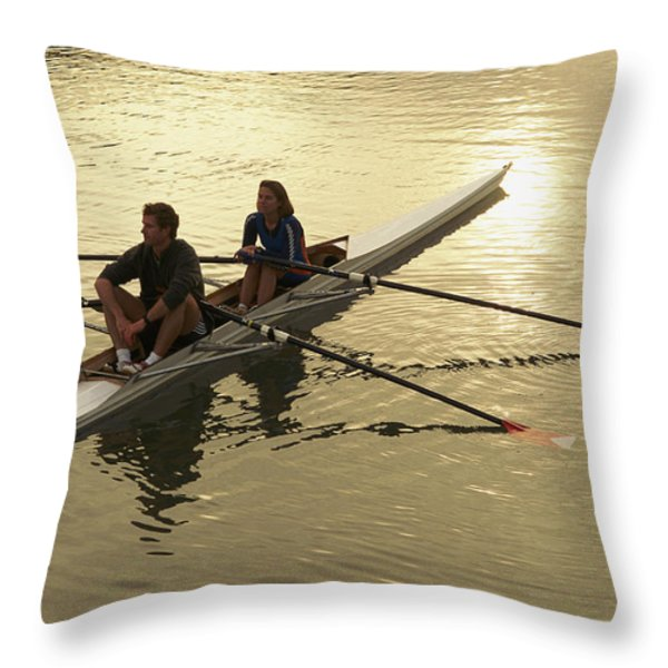 Crew Model Released Rowers Take A Break Throw Pillow by Phil Schermeister