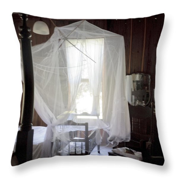 Crib With Mosquito Netting In A Florida Cracker Farmhouse Throw Pillow by Lynn Palmer