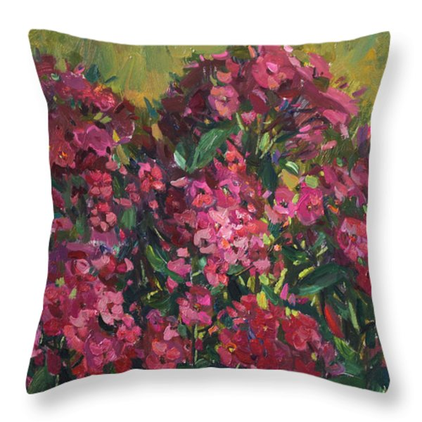Crimson Phloxes Throw Pillow by Juliya Zhukova