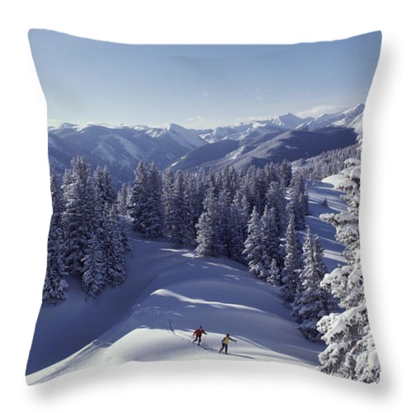 Cross-country Skiing In Aspen, Colorado Throw Pillow by Annie Griffiths