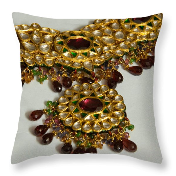 Cross section of a purple and yellow gold beautiful necklace Throw Pillow by Ashish Agarwal