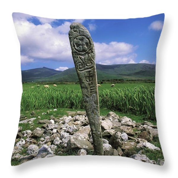 Cross Slab, Dingle Peninsula, Co Kerry Throw Pillow by The Irish Image Collection