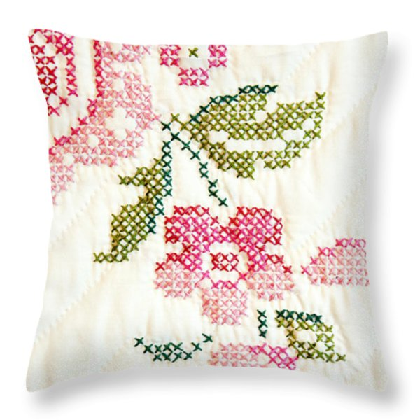 Cross Stitch Flower 1 Throw Pillow by Marilyn Hunt