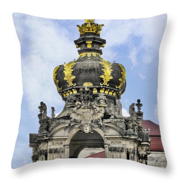 Crown Gate - Kronentor Zwinger Palace Dresden Throw Pillow by Christine Till