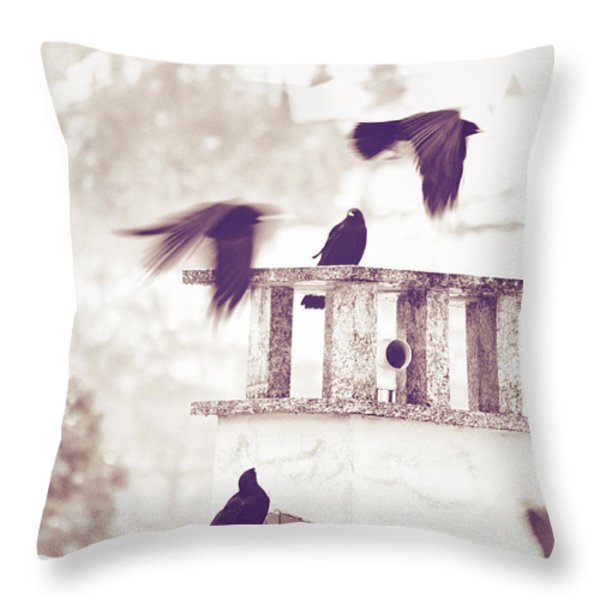 Crows On A Roof Throw Pillow by Silvia Ganora