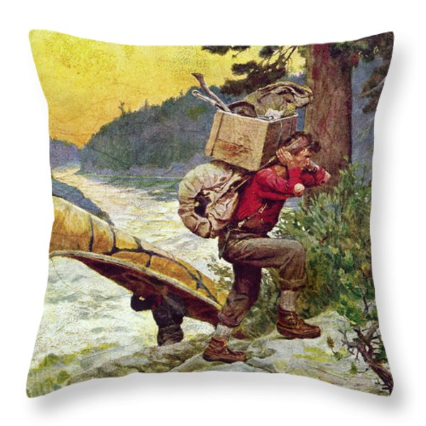 Cruisers Making A Portage Throw Pillow by JQ Licensing