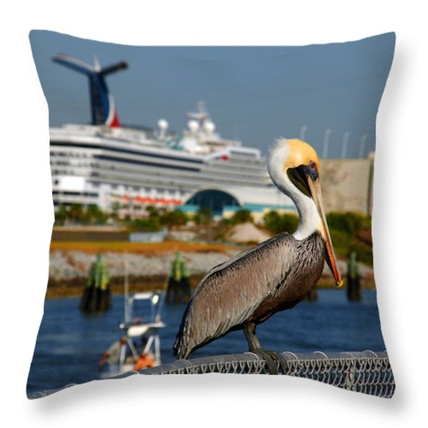 Cruising Pelican Throw Pillow by Susanne Van Hulst