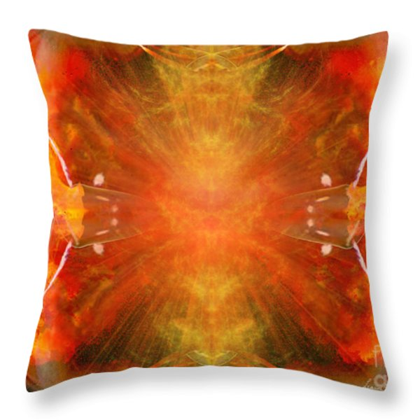 Crystal And Celestial Healing - Fire Agate Throw Pillow by Leanne M Williams