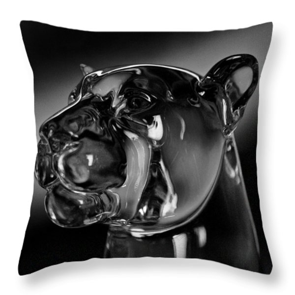 Crystal Cougar Head IIi Throw Pillow by David Patterson