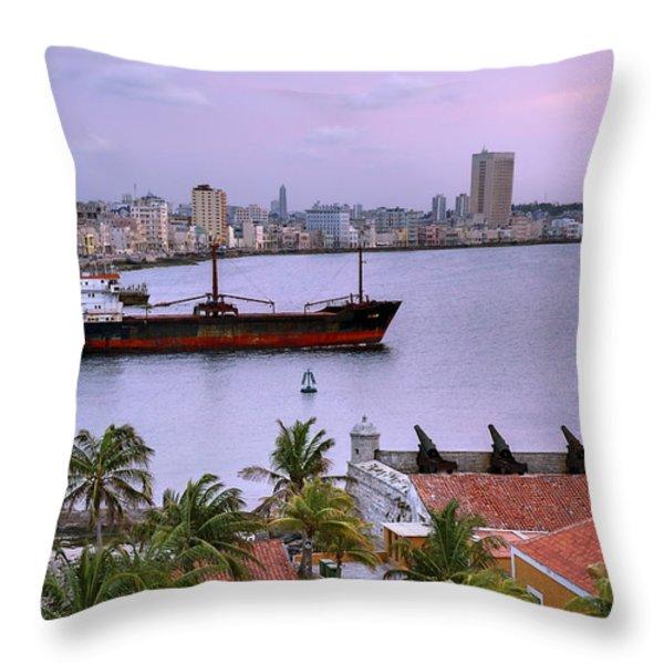 Cuba. Cargo Ship Leaving Havana Bay. Throw Pillow by Juan Carlos Ferro Duque