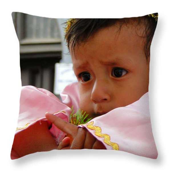 Cuenca Kids 211 Throw Pillow by Al Bourassa