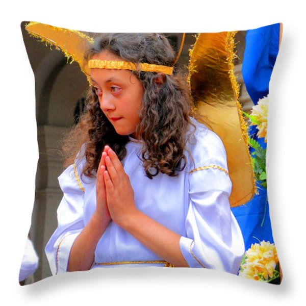 Cuenca Kids 41 Throw Pillow by Al Bourassa