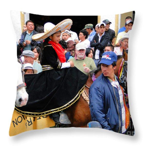 Cuenca Kids 46 Throw Pillow by Al Bourassa