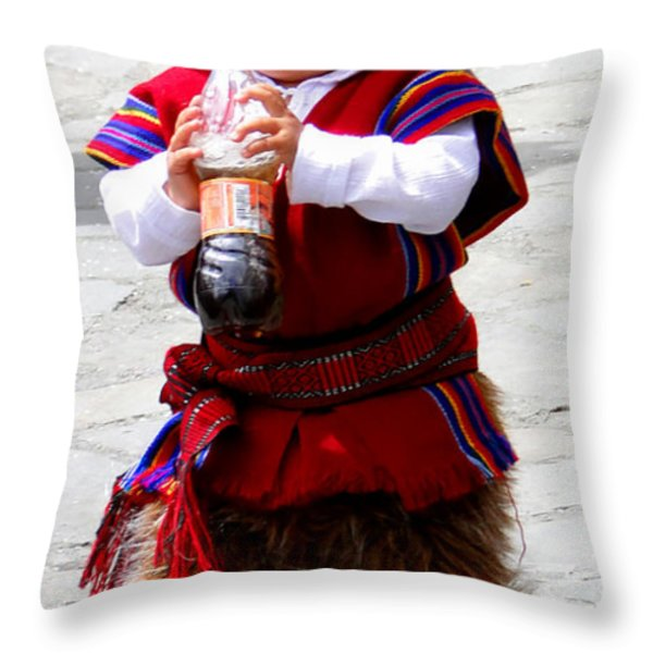 Cuenca Kids 79 Throw Pillow by Al Bourassa