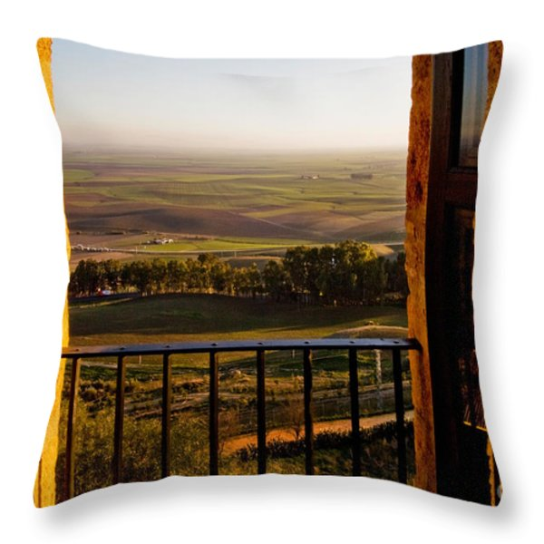 Cultivated Land in Spain Throw Pillow by Spencer Grant and Photo Researchers