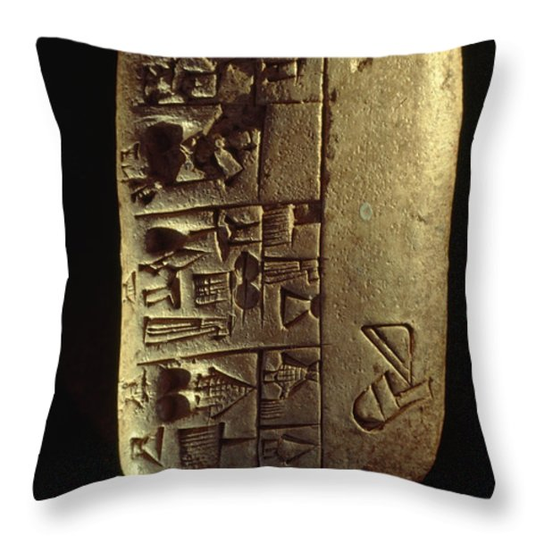 Cuneiform Writing Describes Commodities Throw Pillow by Lynn Abercrombie