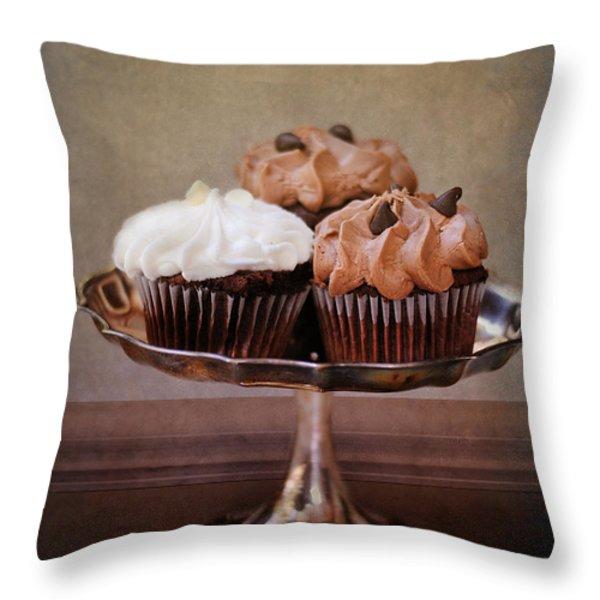 Cupcake Trio Throw Pillow by Jai Johnson