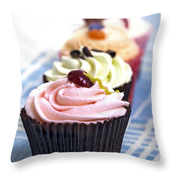 Cupcakes On Tablecloth Throw Pillow by Jane Rix