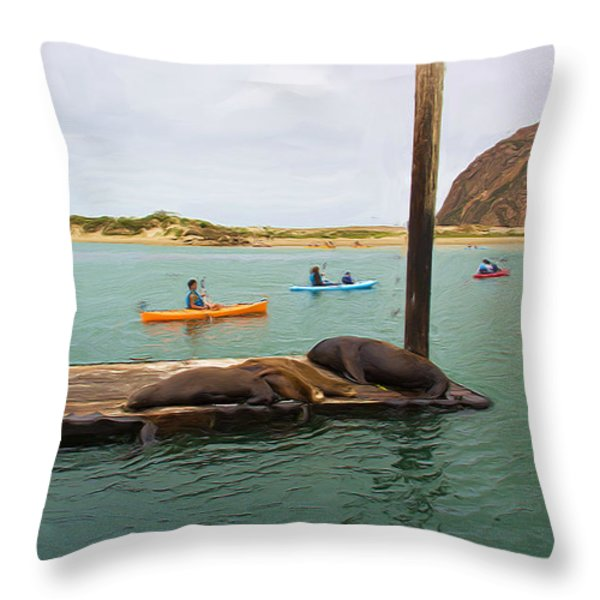 Curious About Sea Lions Throw Pillow by Heidi Smith