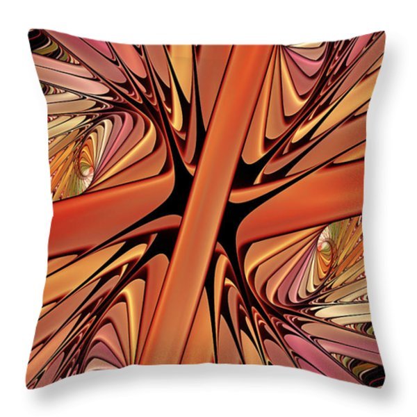 Curves In Abstract Throw Pillow by Deborah Benoit