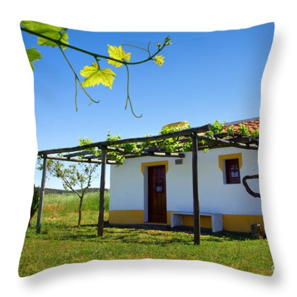 Cute House Throw Pillow by Carlos Caetano