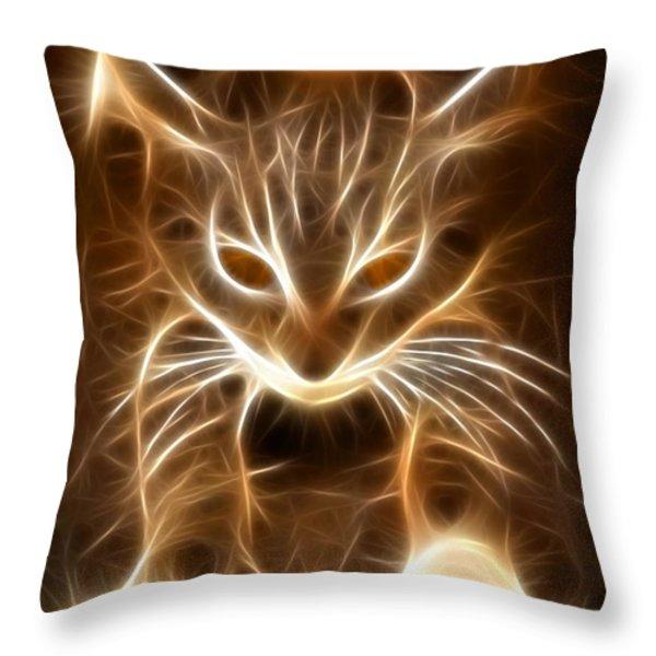 Cute Little Kitten Throw Pillow by Pamela Johnson