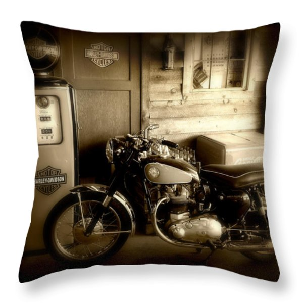 Cycle Garage Throw Pillow by Perry Webster