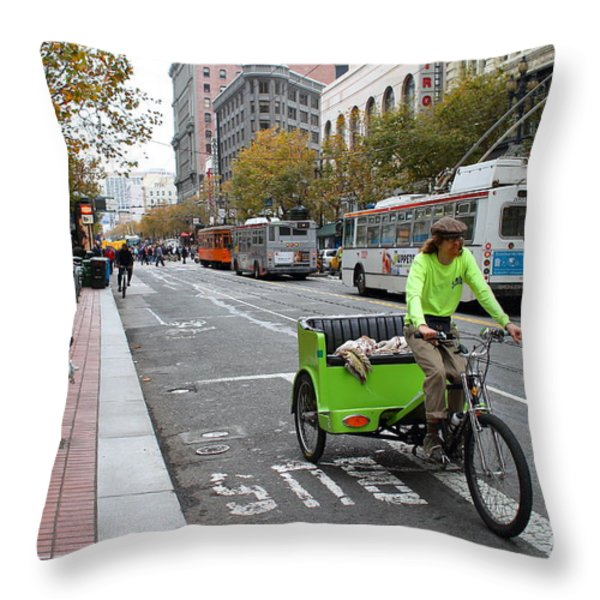 Cycle Rickshaw on Market Street in San Francisco Throw Pillow by Wingsdomain Art and Photography