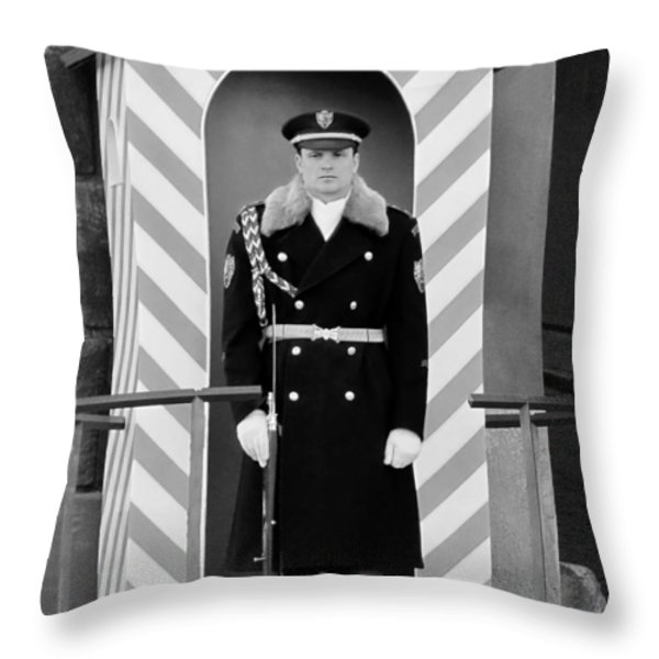 Czech Soldier On Guard At Prague Castle Throw Pillow by Christine Till