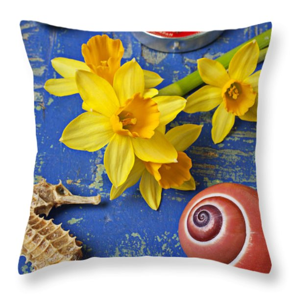 Daffodils And Seahorse Throw Pillow by Garry Gay