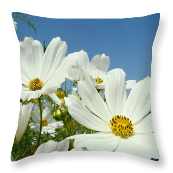 Daisies Flowers Art Prints White Daisy Flower Gardens Throw Pillow by Baslee Troutman Fine Art Collections