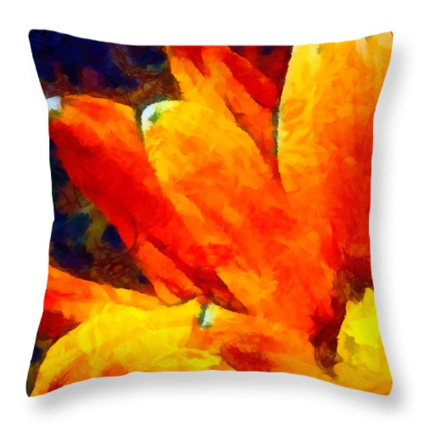 Dancing Daisy 3 Throw Pillow by Angelina Vick