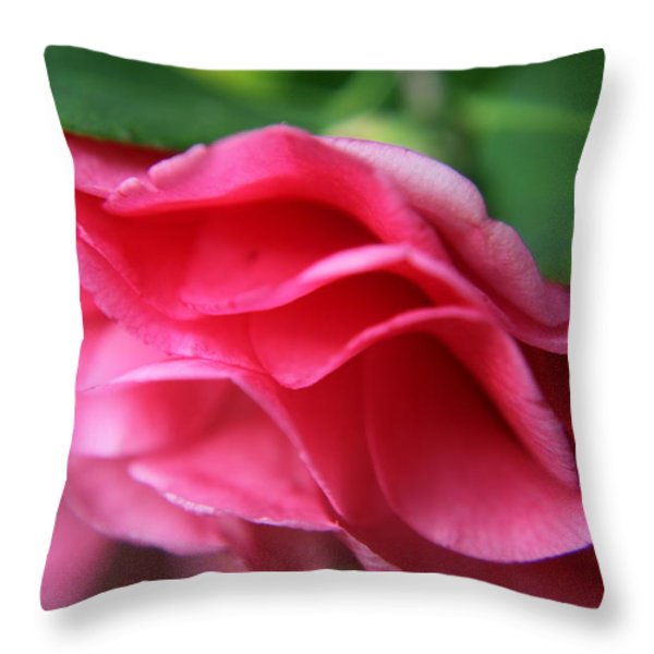 Dancing Petals Of The Camellia Throw Pillow by Enzie Shahmiri