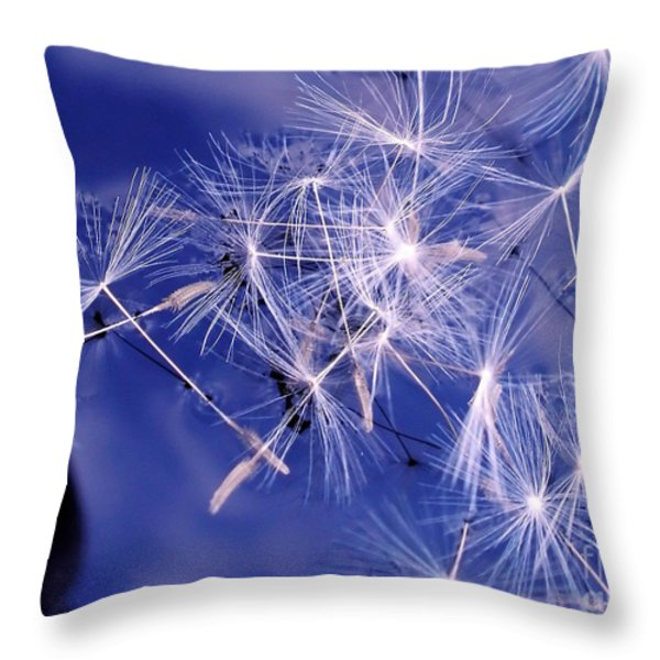 Dandelion Seeds Floating On Water Throw Pillow by Kaye Menner