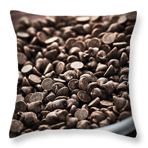 Dark Chocolate Chips Throw Pillow by Elena Elisseeva