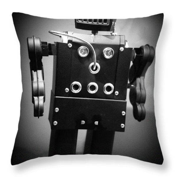 Dark Metal Robot Throw Pillow by Edward Fielding