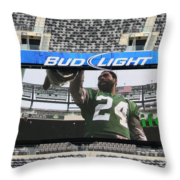 Darrelle Revis - NY Jets Throw Pillow by Paul Ward