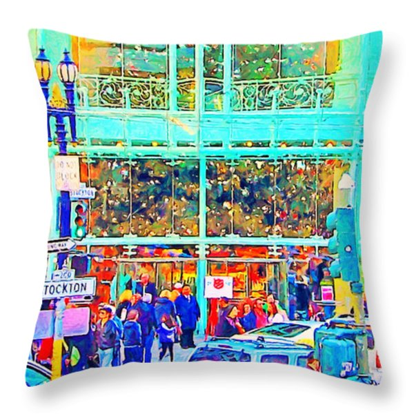Day Before Christmas at Neiman Marcus . Photoart Throw Pillow by Wingsdomain Art and Photography