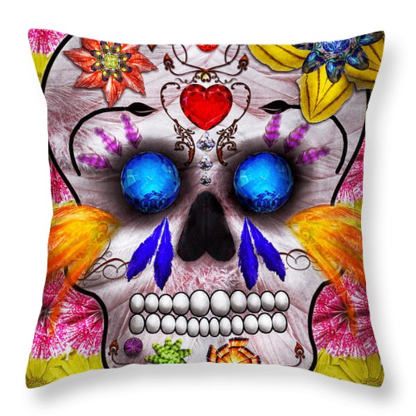 Day Of The Dead - Death Mask Throw Pillow by Mike Savad