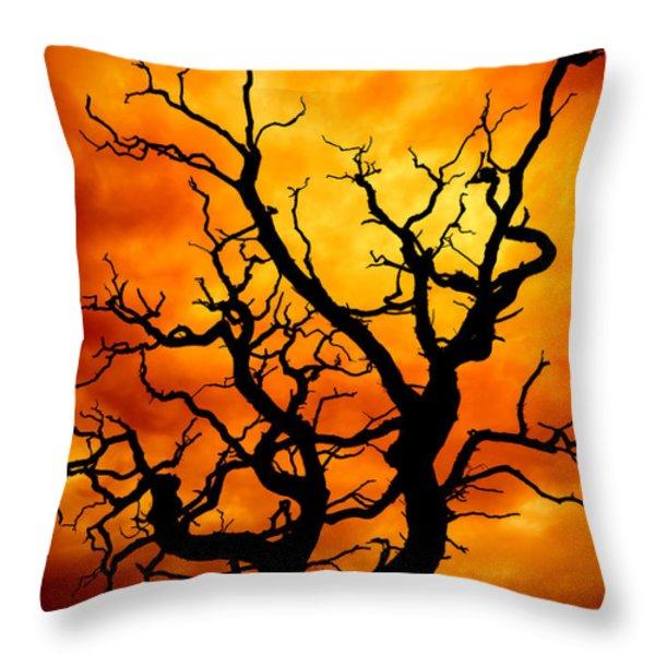 dead tree Throw Pillow by Meirion Matthias