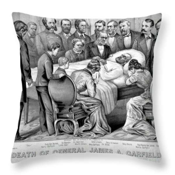 Death Of Garfield, 1881 Throw Pillow by Photo Researchers