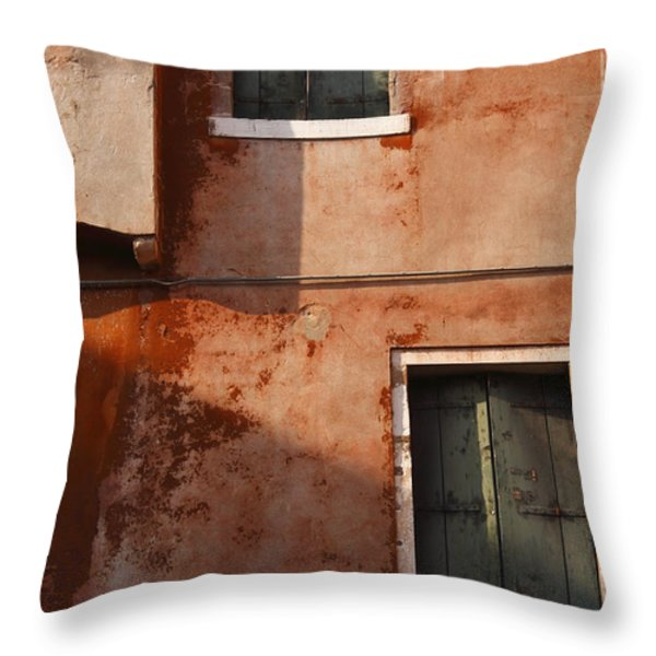 Decayed Facade Of A Building Venice Throw Pillow by Trish Punch