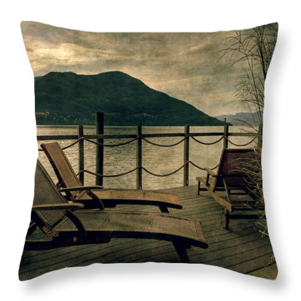 Deck Chairs Throw Pillow by Joana Kruse