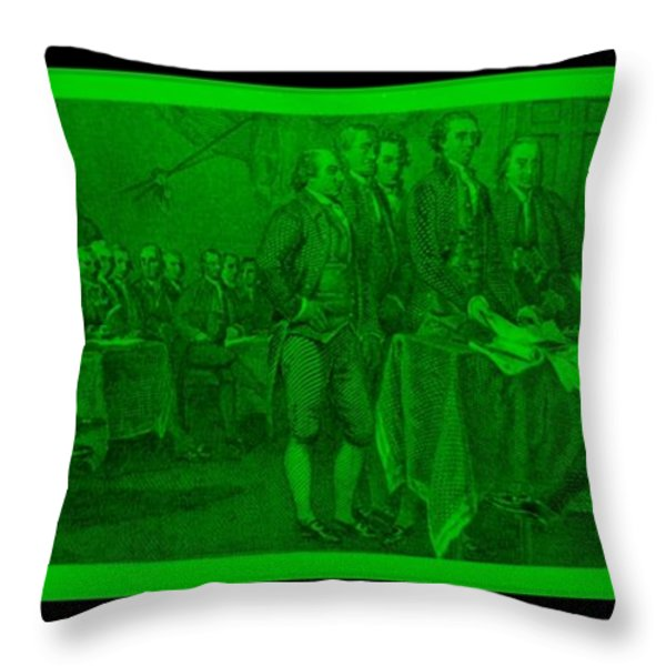 DECLARATION OF INDEPENDENCE in GREEN Throw Pillow by ROB HANS