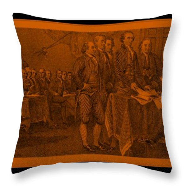 DECLARATION OF INDEPENDENCE in ORANGE Throw Pillow by ROB HANS
