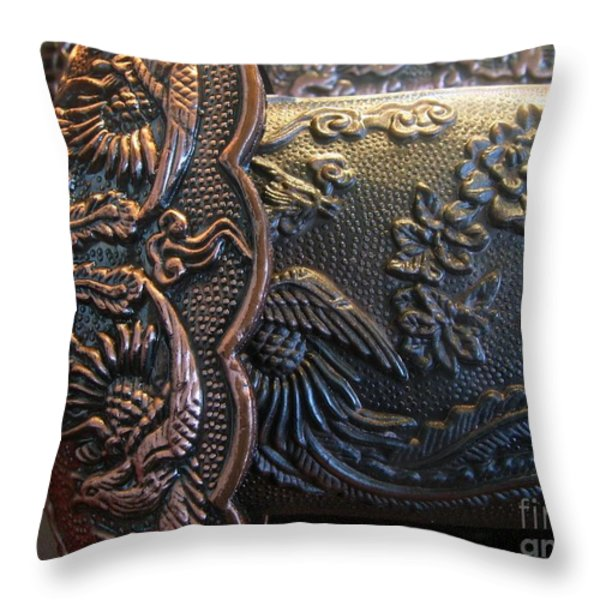 Decorated Parts  Of A Sword Throw Pillow by Yali Shi
