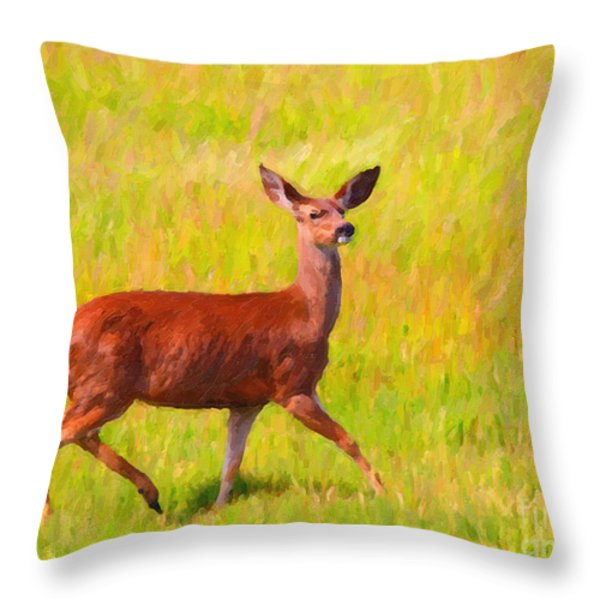 Deer In The Meadow Throw Pillow by Wingsdomain Art and Photography