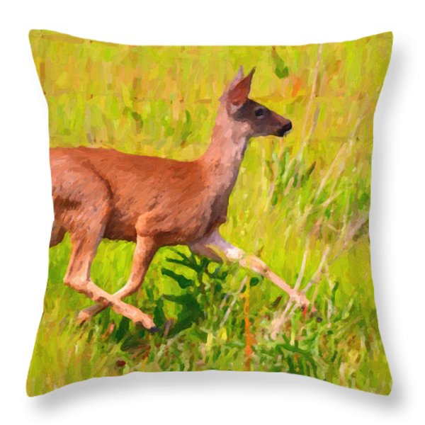 Deer Prancing In The Field Throw Pillow by Wingsdomain Art and Photography